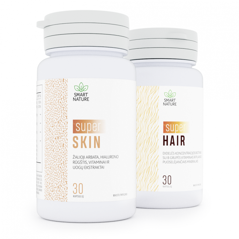 Rinkinys Super You. Super Hair - didelės koncentracijos biotinas su B grupės vitaminais ir plaukus puoselėjančiais mineralais. Super Skin - žalioji arbata, hialiurono rūgštis, vitaminai ir uogų ekstraktai.