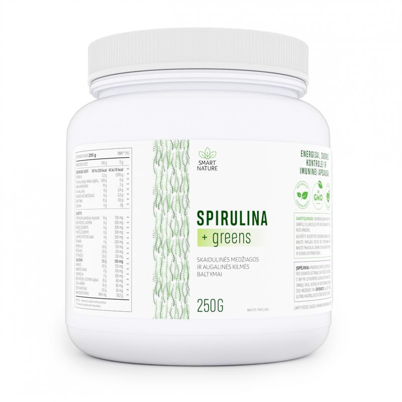 Spirulina + greens - skaidulinės medžiagos ir augalinės kilmės baltymai neišsenkančiai energijai ir lieknėjimui be pastangų
