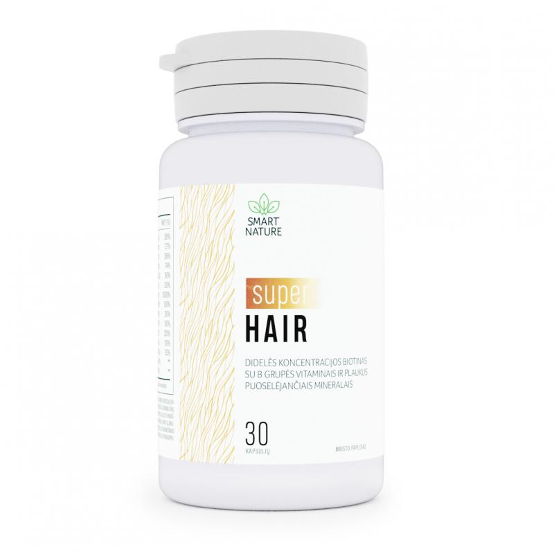 Super Hair - didelės koncentracijos biotinas su B grupės vitaminais ir plaukus puoselėjančiais mineralais