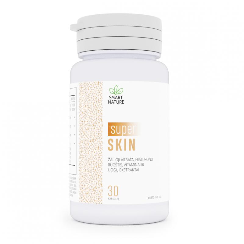 Super Skin - žalioji arbata, hialiurono rūgštis, vitaminai ir uogų ekstraktai.