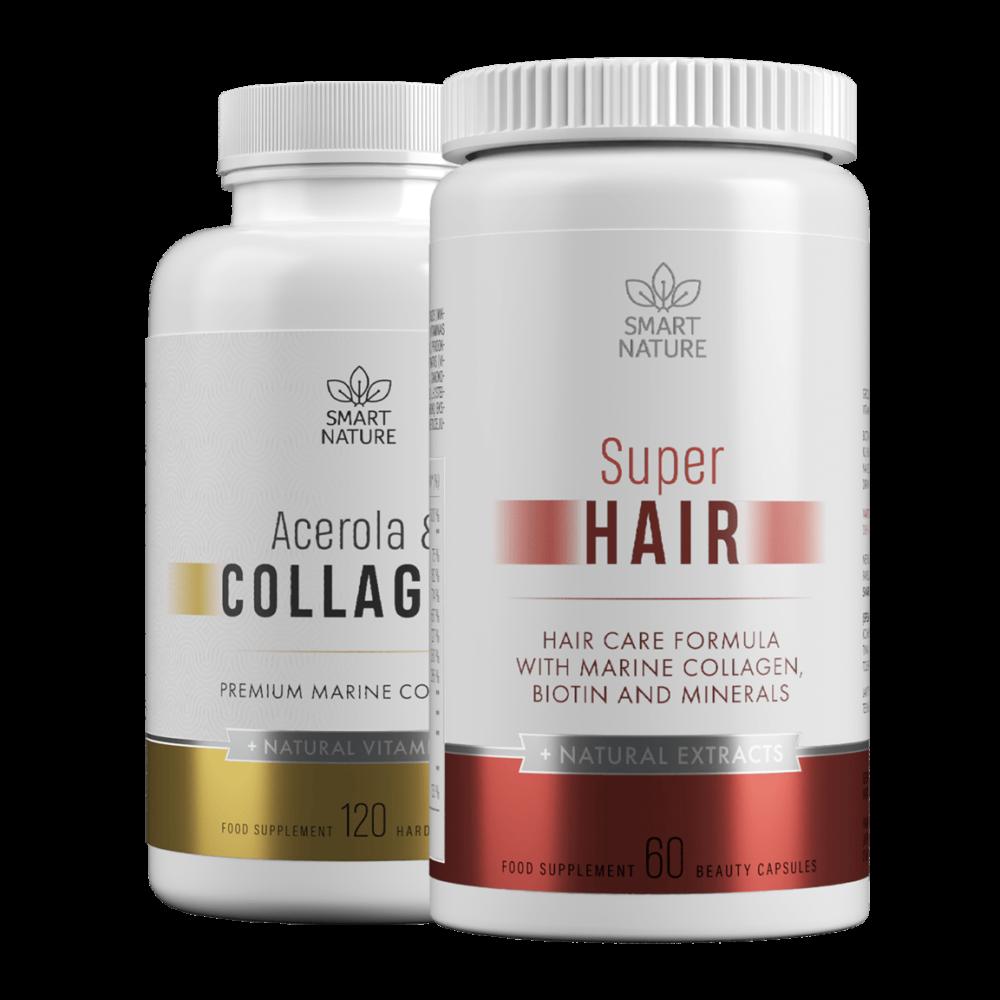 Vitaminai plaukams SUPER HAIR ir Acerola ir kolagenas | Smart Nature